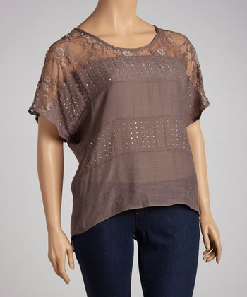 Mocha Studded Lace Dolman Top - Plus