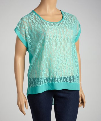 Blue Lace Leopard Tunic - Plus