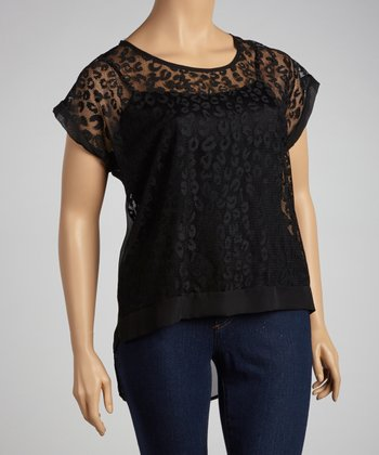 Black Lace Leopard Tunic - Plus