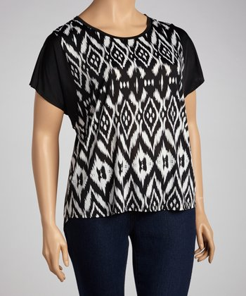 White Native Cutout Dolman Top - Plus