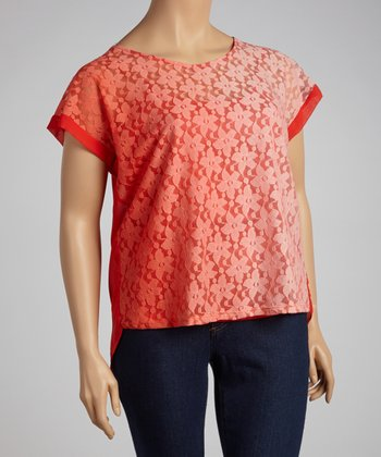 Tomato Flower Lace Top - Plus