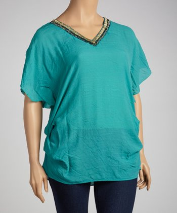 Teal Beaded Dolman Tunic - Plus