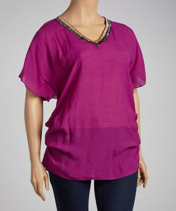Magenta Beaded Dolman Tunic - Plus