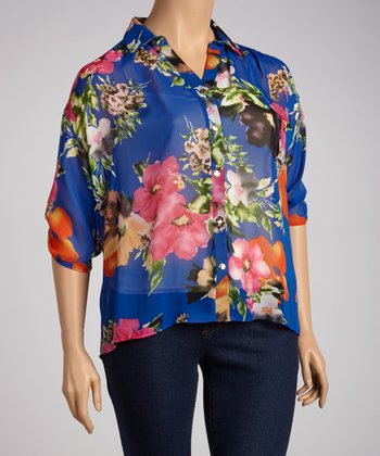 Royal Blue Flower Button-Up - Plus