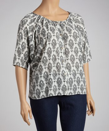 White & Gray Dolman Top - Plus