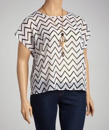 White Sheer Zigzag Dolman Top - Plus
