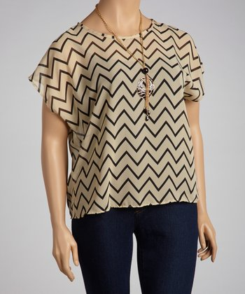 Taupe Sheer Zigzag Dolman Top - Plus