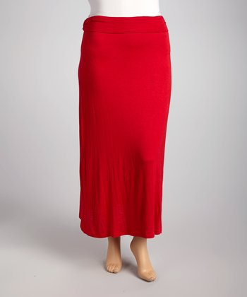 Red Maxi Skirt - Plus