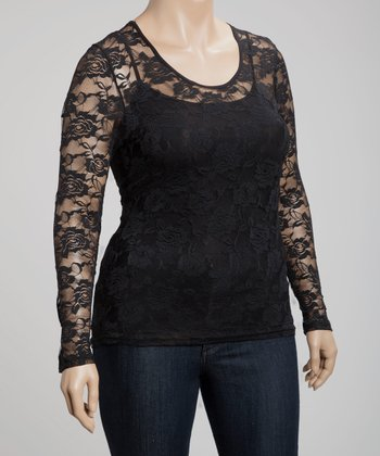 Black Scoop Neck Lace Top - Plus