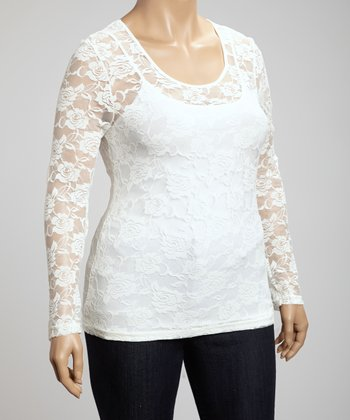 White Scoop Neck Lace Top - Plus