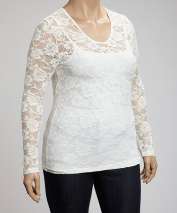 White Lace Top - Plus