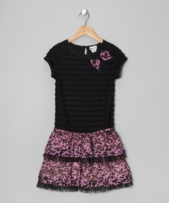 Black & Pink Eyelash Leopard Drop-Waist Dress - Girls
