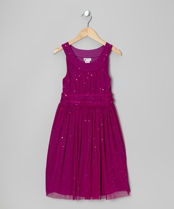 Berry Sparkle Dress - Girls