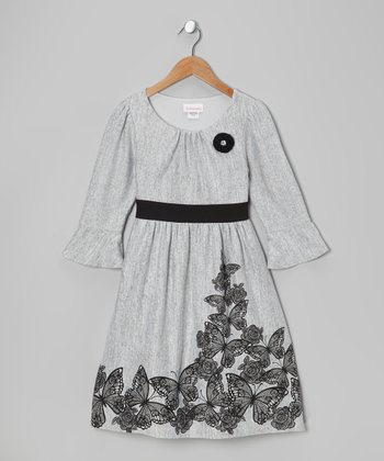Gray & Black Boarder Dress - Girls