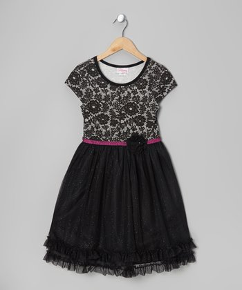 Black & Pink Floral Dress - Girls