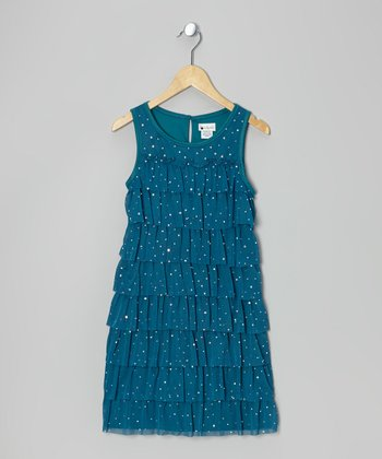 Turquoise Tier Ruffle Dress - Girls