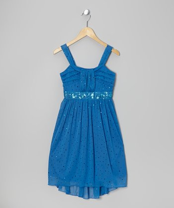 Blue Sequin Dress - Girls