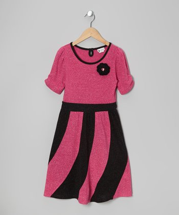 Hot Pink & Black Metallic Dress - Girls
