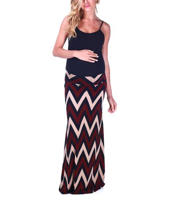 Red Zigzag Maternity Maxi Skirt