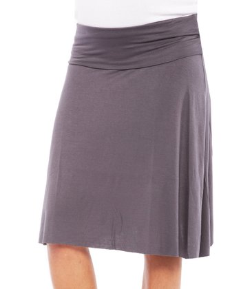 Gray Nola Under-Belly Maternity Skirt