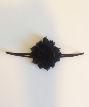 Black Shabby Chic Rosette Headband