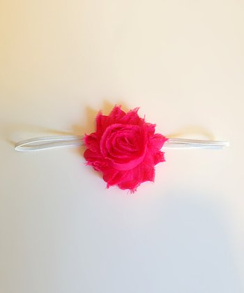 Hot Pink & White Shabby Chic Rosette Headband