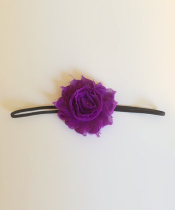 Purple & Black Shabby Chic Rosette Headband