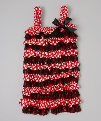 Red & Black Polka Dot Ruffle Romper - Infant & Toddler