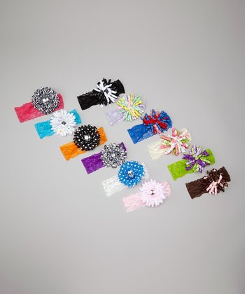 Assorted Flowers & Korkers Lace Headband Set