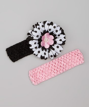 Pink & Black Layered Daisy Headband Set