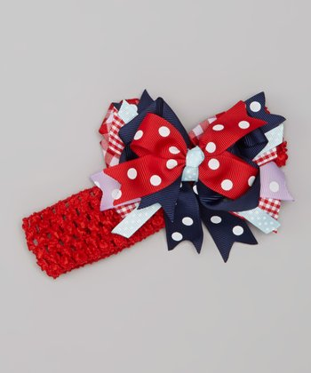 Navy & Red Boutique Bow Clip Headband Set