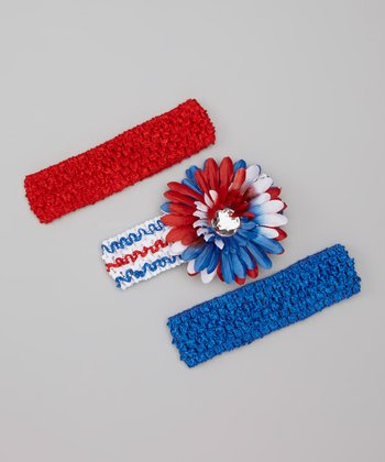 Red & Blue Headband & Daisy Clip Set