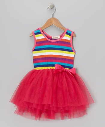Hot Pink Delight Stripe Tutu Dress - Infant, Toddler & Girls