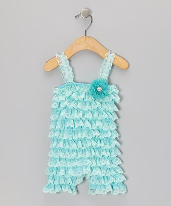 Aqua Vintage Lace Romper - Infant & Toddler