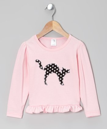 Pink Polka Dot Cat Ruffle Tee - Infant, Toddler & Girls
