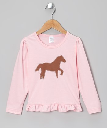 Pink Horse Ruffle Tee - Infant, Toddler & Girls