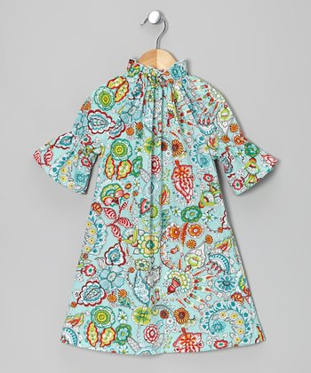 Blue Floral Peasant Dress - Infant, Toddler & Girls