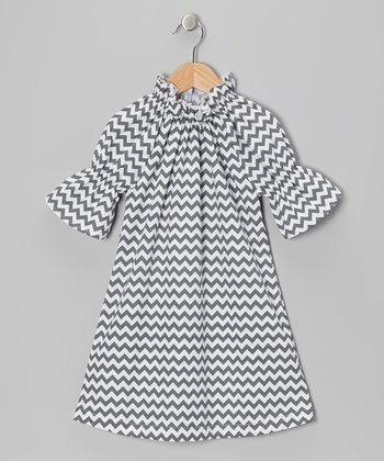 Gray Zigzag Peasant Dress - Infant, Toddler & Girls