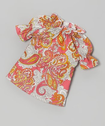 Hot Pink Paisley Peasant Doll Dress