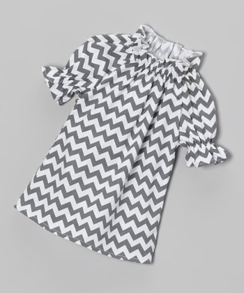 Gray Zigzag Peasant Doll Dress