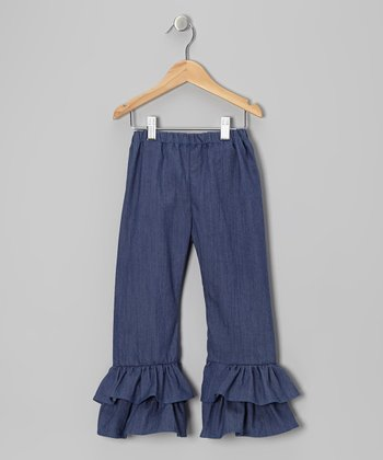 Blue Chambray Ruffle Pants - Toddler & Girls