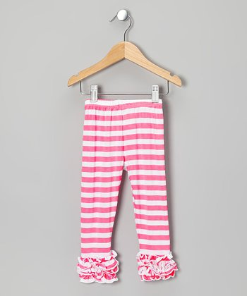 Hot Pink & White Stripe Ruffle Leggings - Toddler & Girls