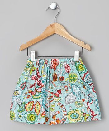 Blue Floral Skirt - Toddler