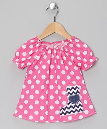 Pink Polka Dot Boot Peasant Top - Infant, Toddler & Girls