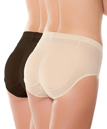 Black & Nude Insta-Booty Padded Shaper Briefs Set - Women & Plus