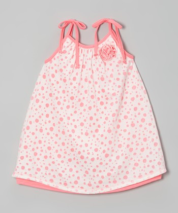 Neon Pink Polka Dot Layered Swing Dress - Toddler & Girls