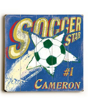 Blue & Red 'Soccer Star' Personalized Sign