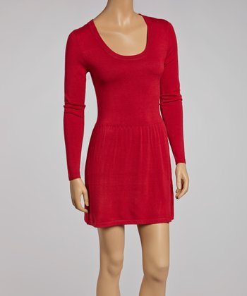 Red Scoop Neck Sweater Dress