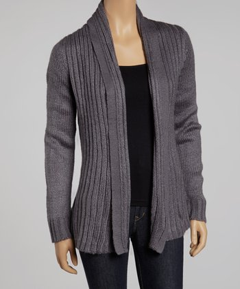 Charcoal Ribbed Open Cardigan