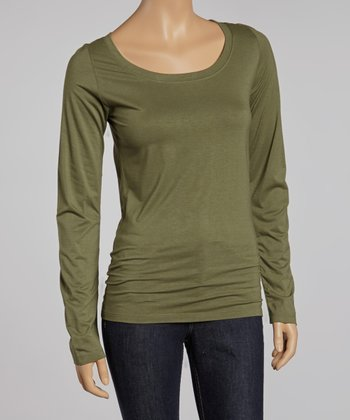 Dusty Olive Scoop Neck Tee
